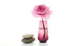 Pink Rose and Smooth Stones Royalty Free Stock Photography