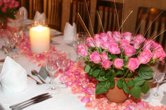 Pink rose table setting stock image