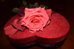 Pink rose on top of heart shaped red box. With red bow Royalty Free Stock Photography