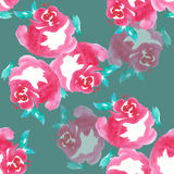Pink rose , watercolor, pattern seamless, handmade Stock Photo