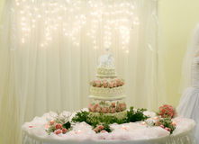 Pink rose wedding cake. Beautiful pink rose wedding cake on table at reception Stock Photography