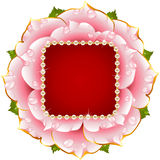 Pink rose wedding frame with pearl vector illustration