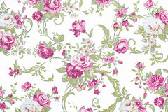 Pink  rose on white fabric background, Fragment of colorful retr Stock Photography