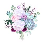 Pink rose, white hydrangea, purple carnation, dark orchid, succu. Lents, violet bellflower, eucalyptus, greenery vector design bouquet.Winter wedding flowers stock illustration