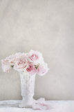 Pink Rose in White Vase on Table Stock Photos