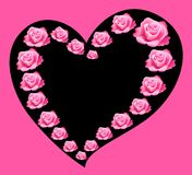 Pink roses. Beautiful pink roses in the form of heart on the black Stock Photos