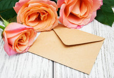 Pink Roses And Envelope Royalty Free Stock Photos