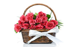Pink roses in the basket Royalty Free Stock Photos