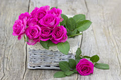 Pink roses in a basket Stock Photography