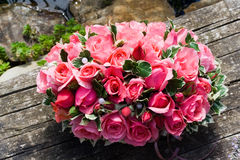 Pink roses. A beautiful flower composition with pink roses in box Stock Photography