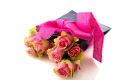 Pink roses in birtday bag Royalty Free Stock Images