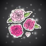 Pink roses on black Royalty Free Stock Photography