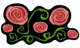 Pink Roses on Black Clip Art vector illustration