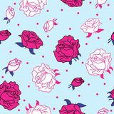 Pink roses on blue background seamless royalty free illustration