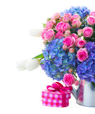 Pink roses and blue hortensia flowers close up Royalty Free Stock Photo