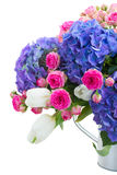 Pink roses and blue hortensia flowers close up Stock Photo