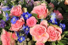 Pink roses and blue larkspur. In a floral wedding decoration Royalty Free Stock Images