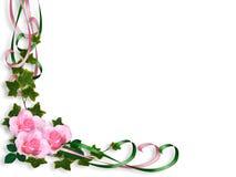 Pink Roses border Invitation Royalty Free Stock Photo
