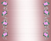 Pink Roses Border on satin Wedding Invitation Royalty Free Stock Images
