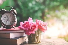 Pink roses bouquet ,clock and book on wooden table stock image