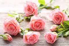 Pink roses. Bouquet of pink roses on grey wooden table stock images