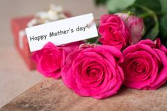 Pink roses bouquet with Happy Mother`s day tag card. Beautiful pink roses bouquet with Happy Mother`s day tag card Royalty Free Stock Photo