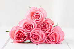 Pink roses. Bouquet of stacked pink roses Stock Image
