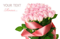 Pink roses bouquet on white Stock Photography
