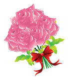 Pink roses with bow Royalty Free Stock Images