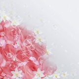 Pink roses and bubbles. Pink roses,white flowers and bubbles Royalty Free Stock Photo