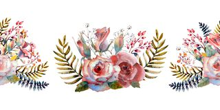 Pink roses, buds, leaves. Repeating summer horizontal border. Floral watercolor. Watercolor compositions for the design. Of greeting cards or invitations vector illustration