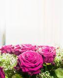Pink roses bunch on light background, close up. Stock Photo