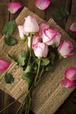 Pink Roses on Burlap From Above Stock Photography