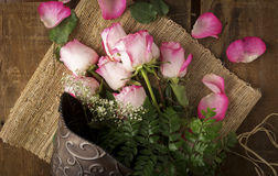 Pink Roses on Burlap with Metal Bucket From Above Stock Photography