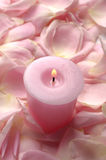 Pink roses with  candle Royalty Free Stock Photo