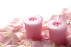 Pink roses with  candle Royalty Free Stock Image