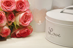Pink roses and candle light Royalty Free Stock Photo