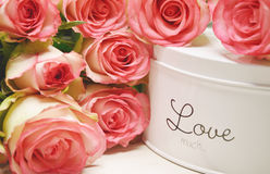 Pink roses and candle light Royalty Free Stock Photography