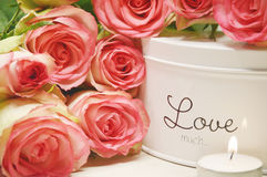 Pink roses and candle light Royalty Free Stock Image