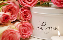 Pink roses and candle light Stock Photo