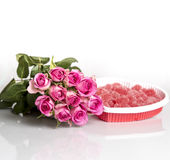 Pink Roses and Candy Hearts Stock Photos