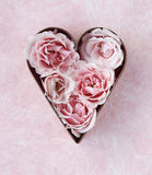 Pink roses in a cookie cutter Stock Photo
