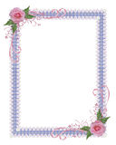 Pink roses country Invitation border Stock Image
