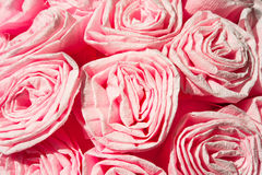 Pink roses from crepe paper. Decorative flowers. Closeup. Royalty Free Stock Photos