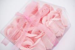 Pink Roses Decoration. Elements Inside Transparent Plastic Box Stock Image