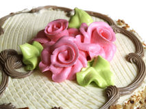 Pink roses on  delicious cake Stock Photo