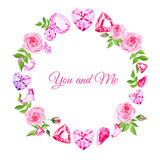 Pink roses and diamonds vintage vector design frame Stock Photo
