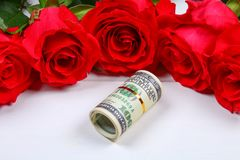 Pink roses with dollar bills instead of a gift. Template for March 8, Mother\'s Day, Valentine\'s Day. Pink roses with dollar bills instead of a gift. Template Royalty Free Stock Photos