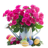 Pink roses with easter eggs Royalty Free Stock Photography
