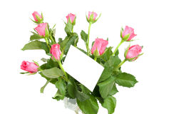 Pink roses and empty memo card Royalty Free Stock Photo